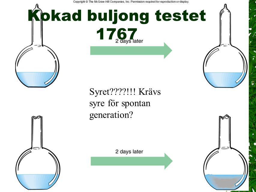 4 Kokad buljong testet 1767 Syret????!!! Krävs syre för spontan generation?