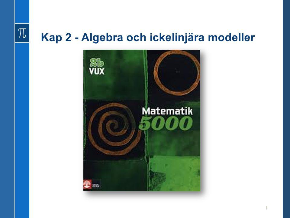 Kap 2 - Algebra och ickelinjära modeller 1