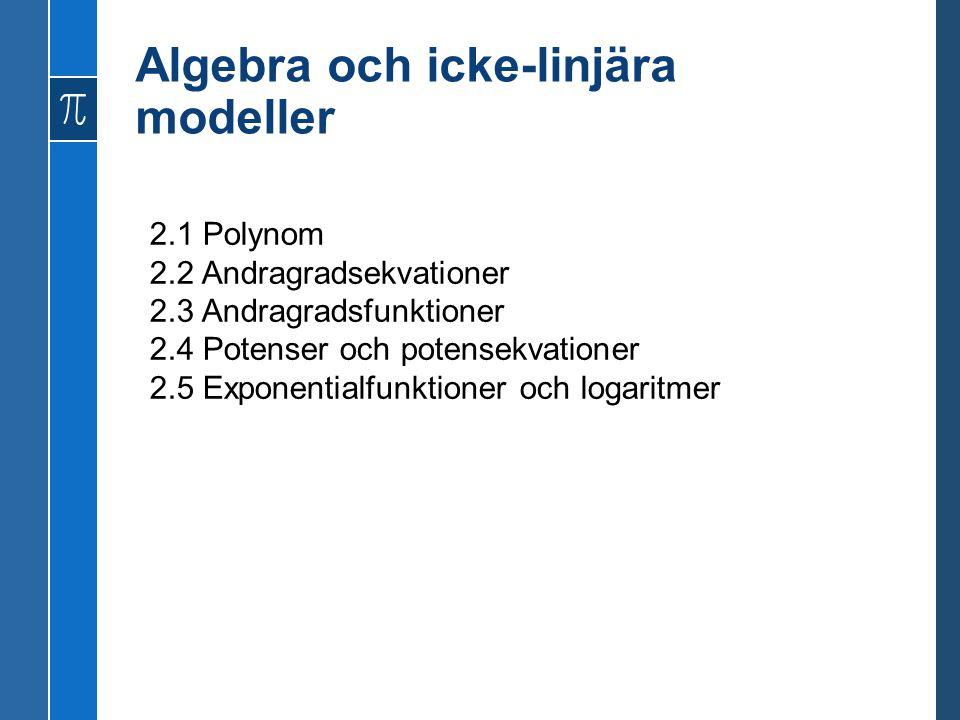 Algebra och icke-linjära modeller 2.1 Polynom 2.2 Andragradsekvationer 2.3 Andragradsfunktioner 2.4 Potenser och potensekvationer 2.5 Exponentialfunktioner och logaritmer