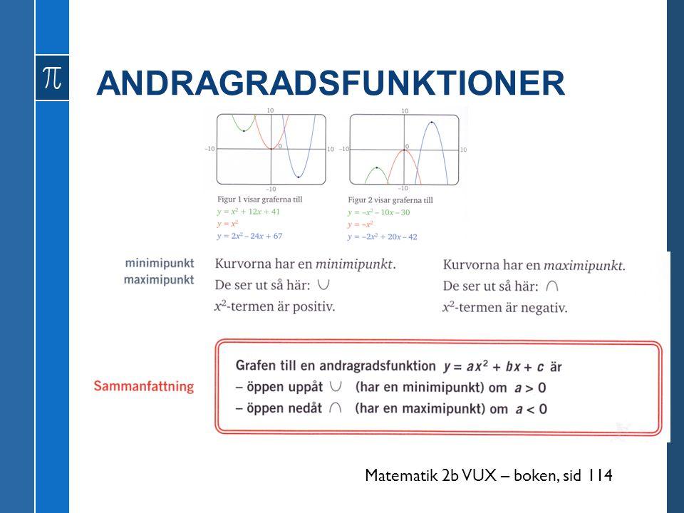 ANDRAGRADSFUNKTIONER Matematik 2b VUX – boken, sid 114