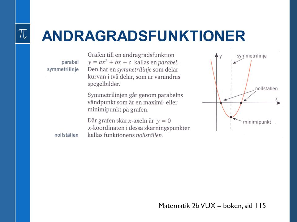 ANDRAGRADSFUNKTIONER Matematik 2b VUX – boken, sid 115
