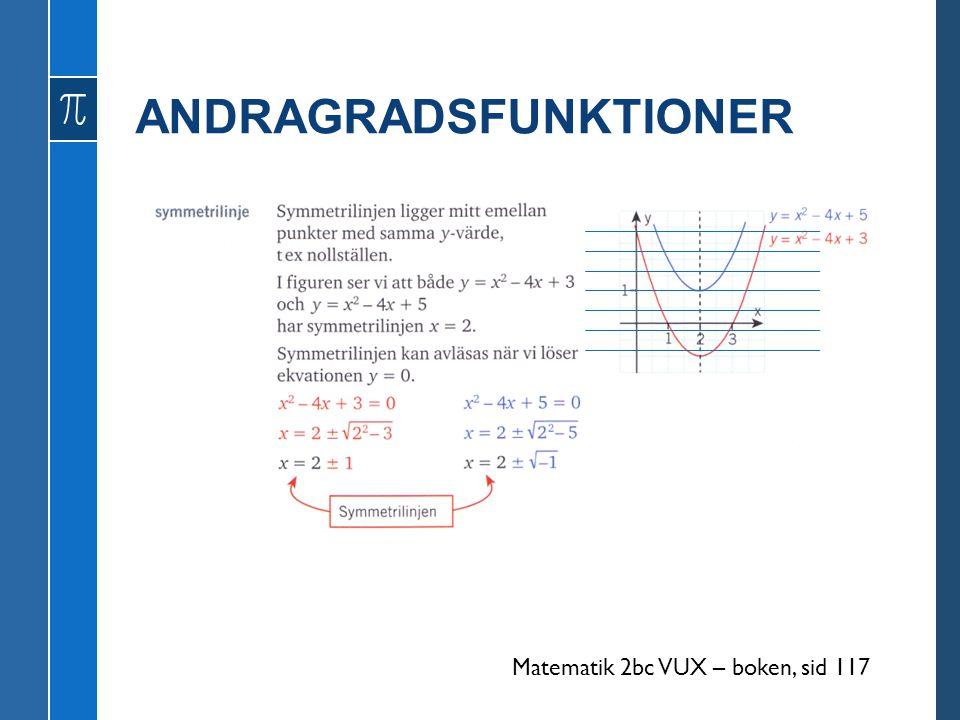ANDRAGRADSFUNKTIONER Matematik 2bc VUX – boken, sid 117