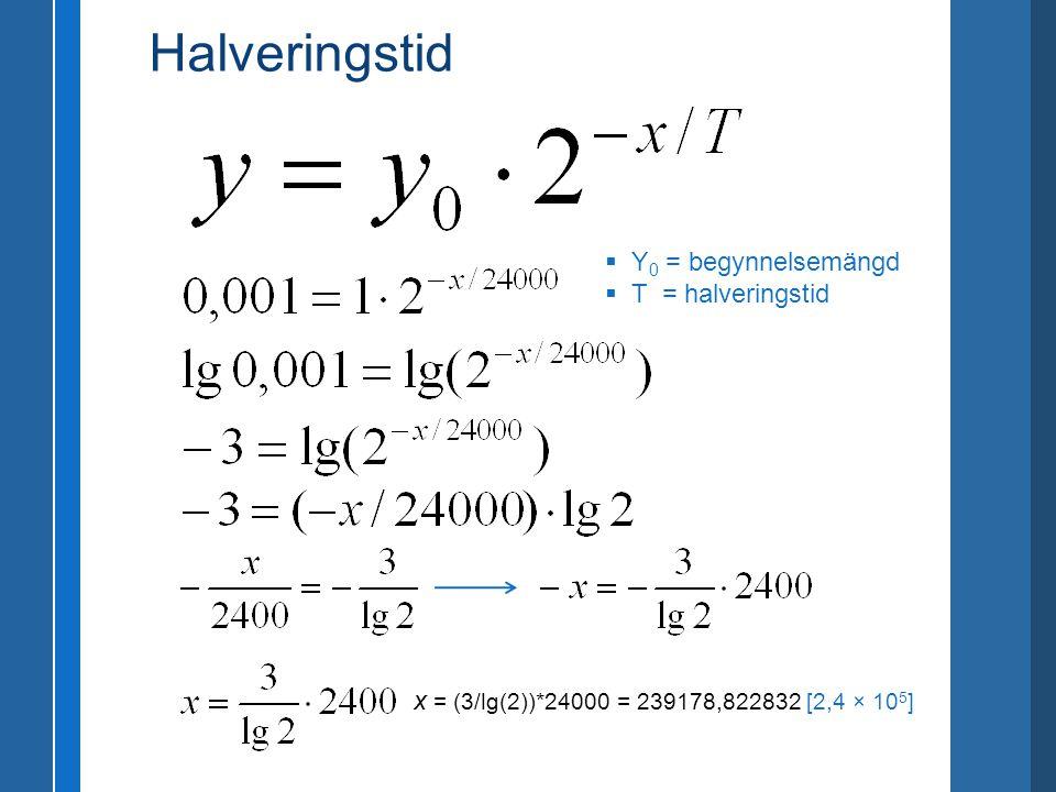  Y 0 = begynnelsemängd  T = halveringstid x = (3/lg(2))*24000 = 239178,822832 [2,4 × 10 5 ] Halveringstid