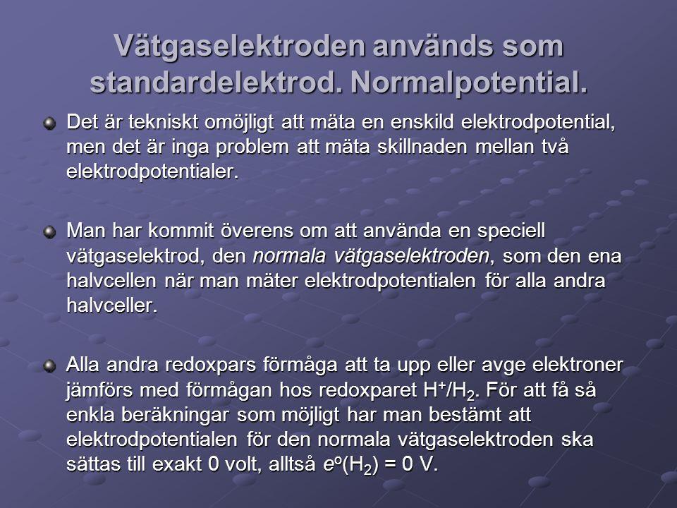 Vätgaselektroden används som standardelektrod.Normalpotential.