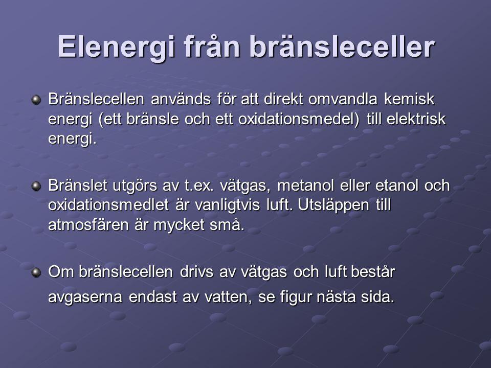 Elenergi från bränsleceller Bränslecellen används för att direkt omvandla kemisk energi (ett bränsle och ett oxidationsmedel) till elektrisk energi. B