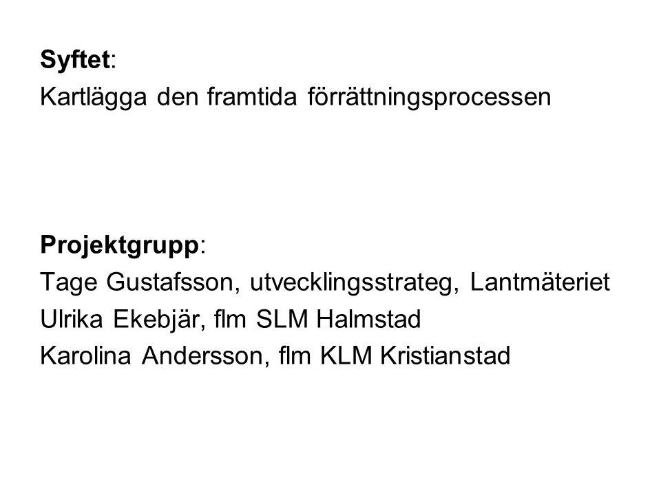 Syftet: Kartlägga den framtida förrättningsprocessen Projektgrupp: Tage Gustafsson, utvecklingsstrateg, Lantmäteriet Ulrika Ekebjär, flm SLM Halmstad Karolina Andersson, flm KLM Kristianstad