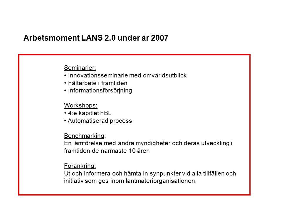 Arbetsmoment LANS 2.0 under år 2007 Seminarier: Innovationsseminarie med omvärldsutblick Fältarbete i framtiden Informationsförsörjning Workshops: 4:e
