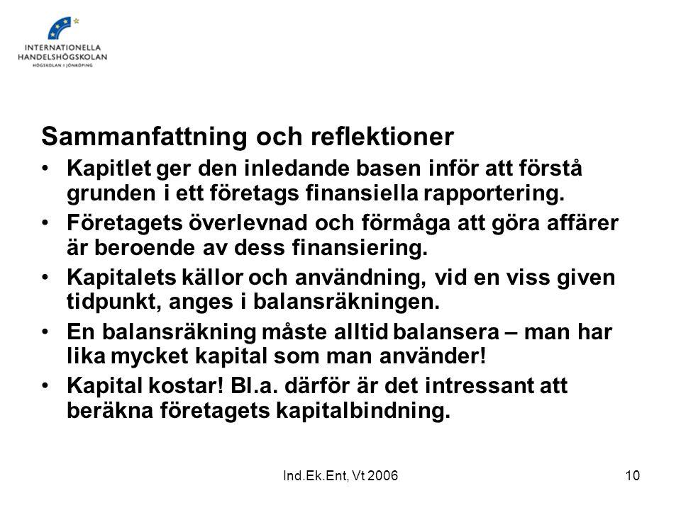 Ind.Ek.Ent, Vt 200610 Sammanfattning och reflektioner Kapitlet ger den inledande basen inför att förstå grunden i ett företags finansiella rapporterin