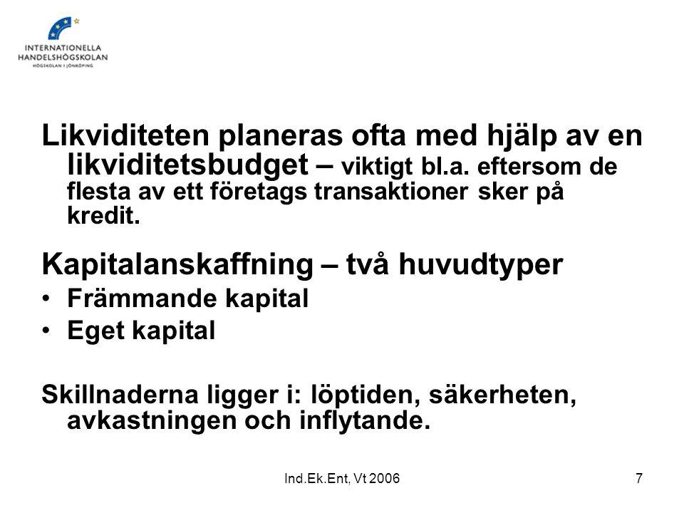 Ind.Ek.Ent, Vt 20067 Likviditeten planeras ofta med hjälp av en likviditetsbudget – viktigt bl.a. eftersom de flesta av ett företags transaktioner ske
