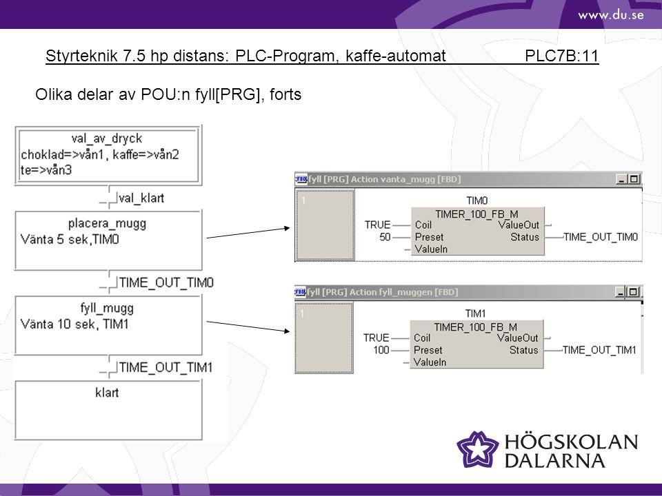 Styrteknik 7.5 hp distans: PLC-Program, kaffe-automat PLC7B:11 Olika delar av POU:n fyll[PRG], forts