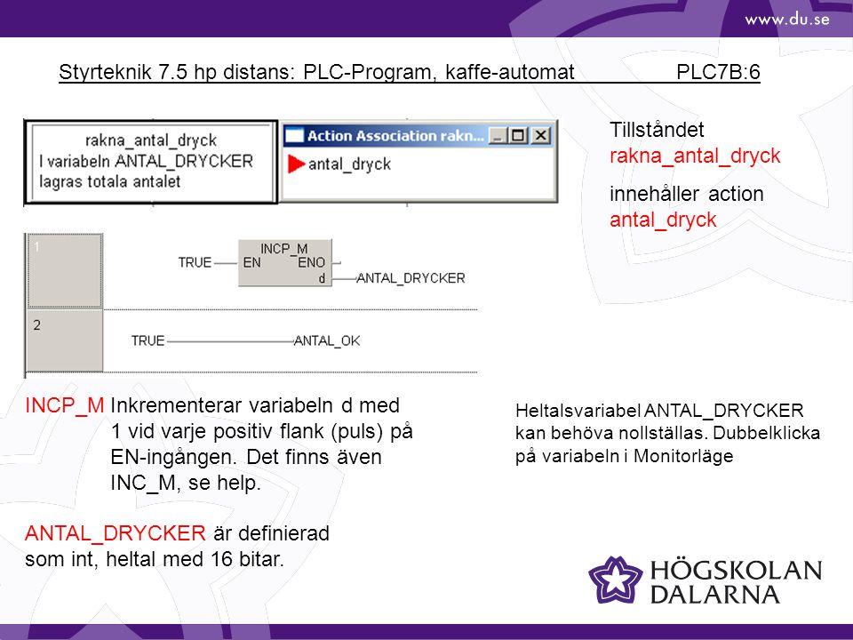 Styrteknik 7.5 hp distans: PLC-Program, kaffe-automat PLC7B:17 Hela Network 2