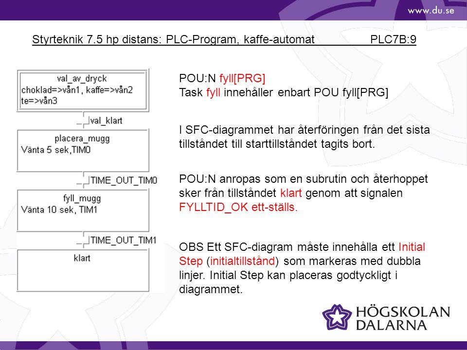 Styrteknik 7.5 hp distans: PLC-Program, kaffe-automat PLC7B:9 POU:N fyll[PRG] Task fyll innehåller enbart POU fyll[PRG] I SFC-diagrammet har återföringen från det sista tillståndet till starttillståndet tagits bort.