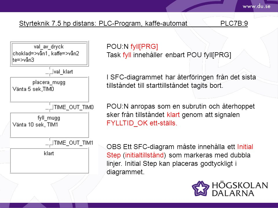 Styrteknik 7.5 hp distans: PLC-Program, kaffe-automat PLC7B:10 Olika delar av POU:n fyll[PRG]