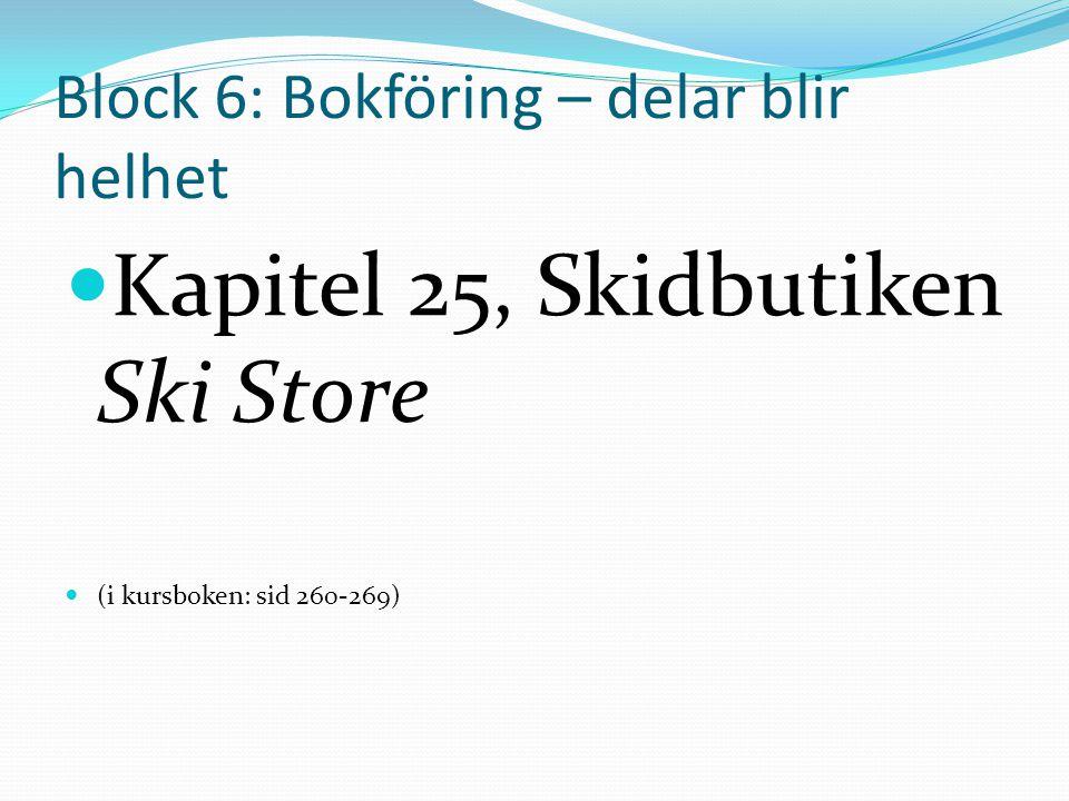 Block 6: Bokföring – delar blir helhet Kapitel 25, Skidbutiken Ski Store (i kursboken: sid 260-269)
