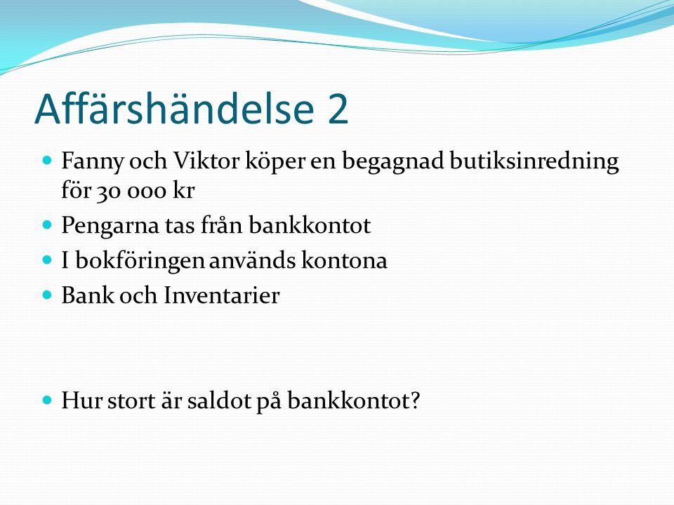 Affärshändelse 2 Fanny och Viktor köper en begagnad butiksinredning för 30 000 kr Pengarna tas från bankkontot I bokföringen används kontona Bank och