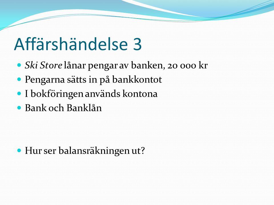 Affärshändelse 3 Ski Store lånar pengar av banken, 20 000 kr Pengarna sätts in på bankkontot I bokföringen används kontona Bank och Banklån Hur ser ba