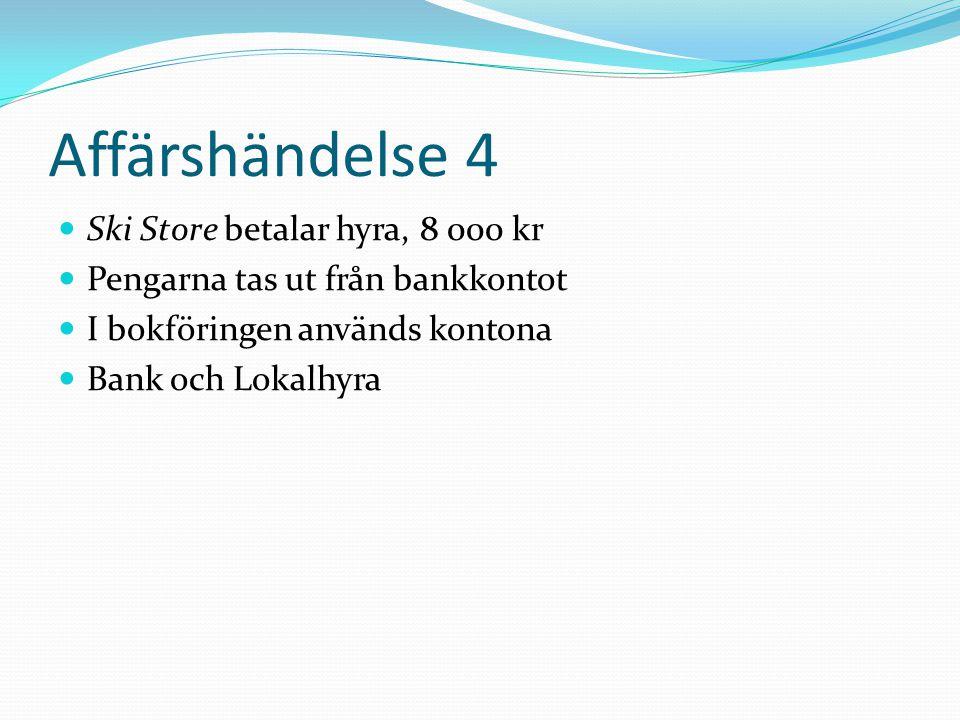 Affärshändelse 4 Ski Store betalar hyra, 8 000 kr Pengarna tas ut från bankkontot I bokföringen används kontona Bank och Lokalhyra