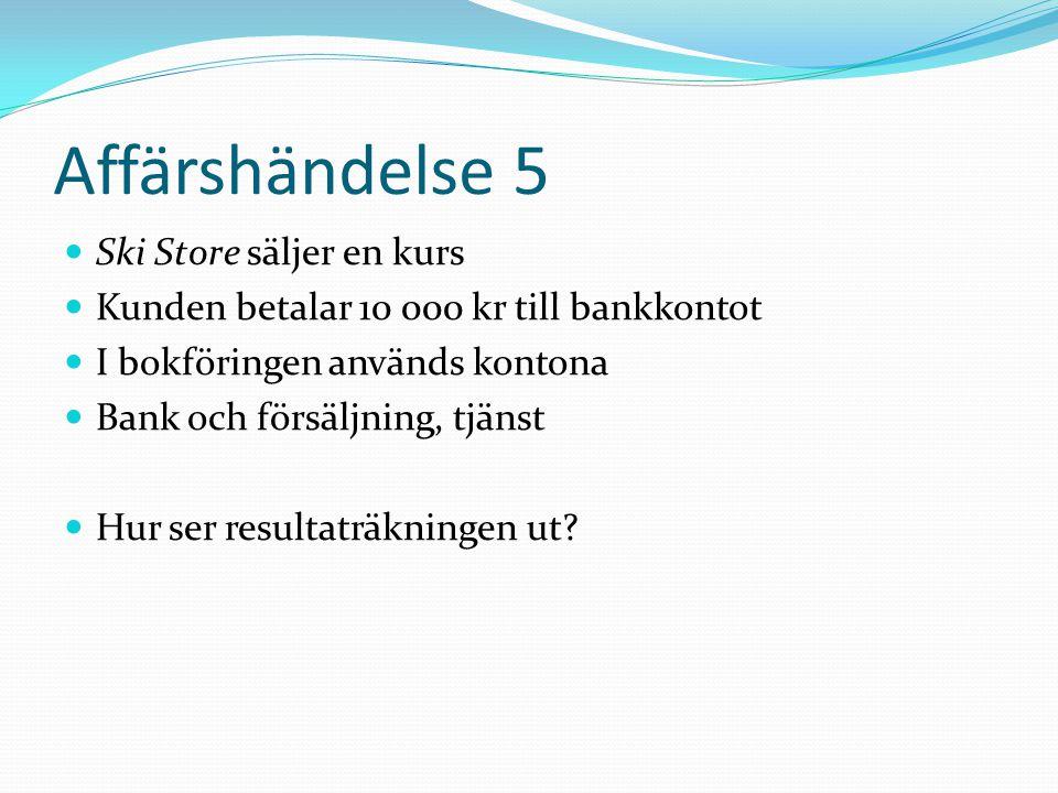 Affärshändelse 5 Ski Store säljer en kurs Kunden betalar 10 000 kr till bankkontot I bokföringen används kontona Bank och försäljning, tjänst Hur ser