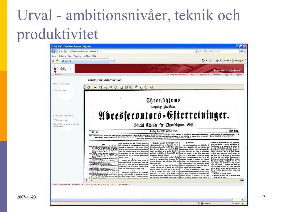 2007-11-237 Urval - ambitionsnivåer, teknik och produktivitet