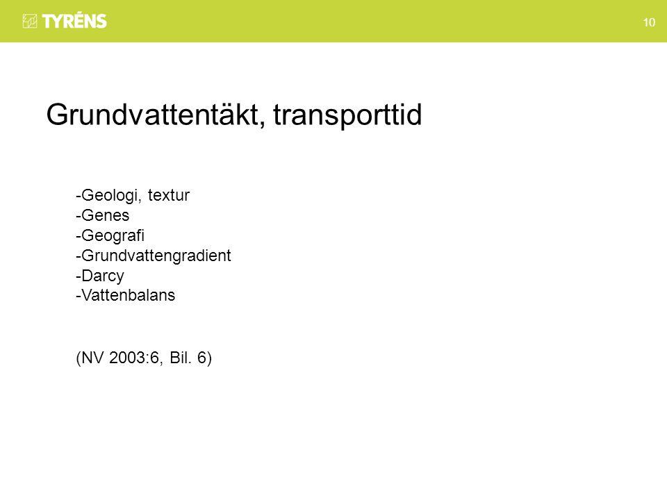 10 Grundvattentäkt, transporttid -Geologi, textur -Genes -Geografi -Grundvattengradient -Darcy -Vattenbalans (NV 2003:6, Bil.