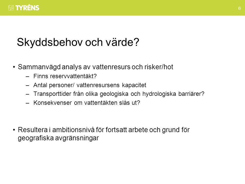 6 Skyddsbehov och värde. Sammanvägd analys av vattenresurs och risker/hot –Finns reservvattentäkt.