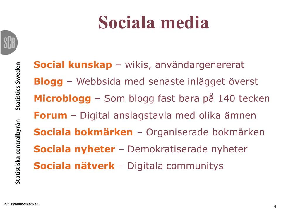 Alf.Fyhrlund@scb.se 5 Strategi för sociala medier 1.tillgängliggöra statistiken, 2.lyssna på våra kunder, 3.kommunicera/föra dialog med kunderna, 4.aktivt sprida vår statistik, 5.nå potentiella medarbetare, samt 6.involvera kunder och användare och hjälpa dem att supporta varandra.