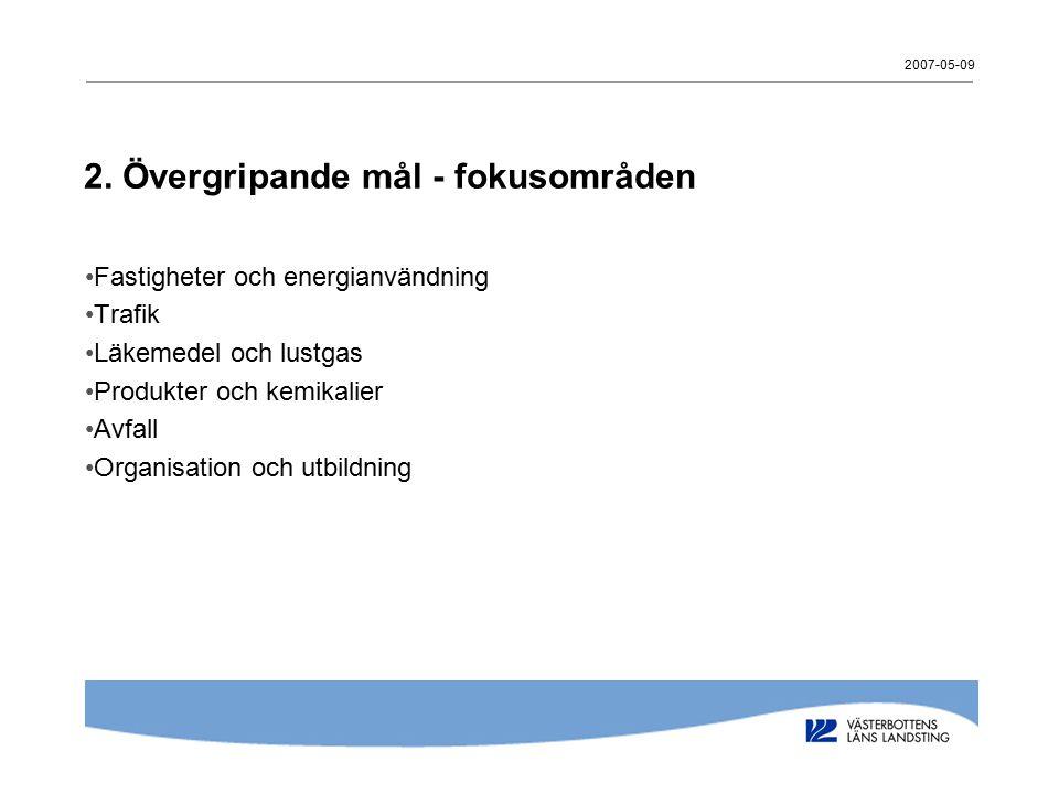 2007-05-09 2. Övergripande mål - fokusområden Fastigheter och energianvändning Trafik Läkemedel och lustgas Produkter och kemikalier Avfall Organisati