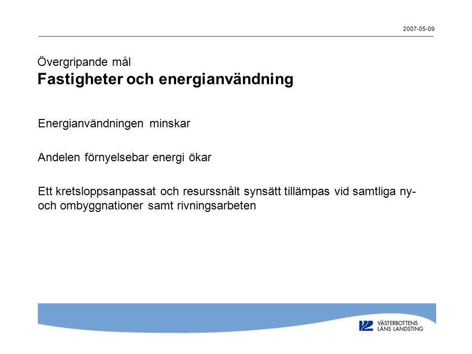 2007-05-09 Övergripande mål Fastigheter och energianvändning Energianvändningen minskar Andelen förnyelsebar energi ökar Ett kretsloppsanpassat och resurssnålt synsätt tillämpas vid samtliga ny- och ombyggnationer samt rivningsarbeten