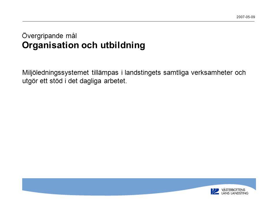 2007-05-09 Övergripande mål Organisation och utbildning Miljöledningssystemet tillämpas i landstingets samtliga verksamheter och utgör ett stöd i det dagliga arbetet.