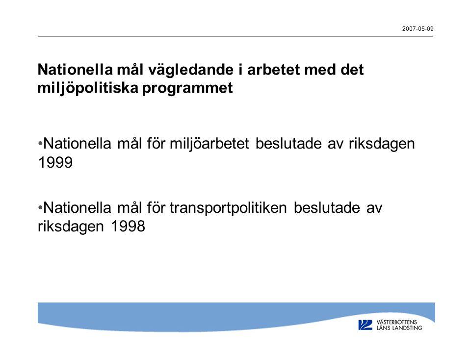 2007-05-09 Nationella mål vägledande i arbetet med det miljöpolitiska programmet Nationella mål för miljöarbetet beslutade av riksdagen 1999 Nationella mål för transportpolitiken beslutade av riksdagen 1998