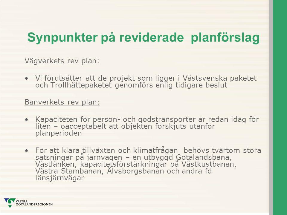 Synpunkter på reviderade planförslag Vägverkets rev plan: Vi förutsätter att de projekt som ligger i Västsvenska paketet och Trollhättepaketet genomförs enlig tidigare beslut Banverkets rev plan: Kapaciteten för person- och godstransporter är redan idag för liten – oacceptabelt att objekten förskjuts utanför planperioden För att klara tillväxten och klimatfrågan behövs tvärtom stora satsningar på järnvägen – en utbyggd Götalandsbana, Västlänken, kapacitetsförstärkningar på Västkustbanan, Västra Stambanan, Älvsborgsbanan och andra fd länsjärnvägar