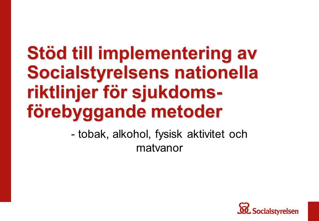 Stöd till implementering av Socialstyrelsens nationella riktlinjer för sjukdoms- förebyggande metoder - tobak, alkohol, fysisk aktivitet och matvanor
