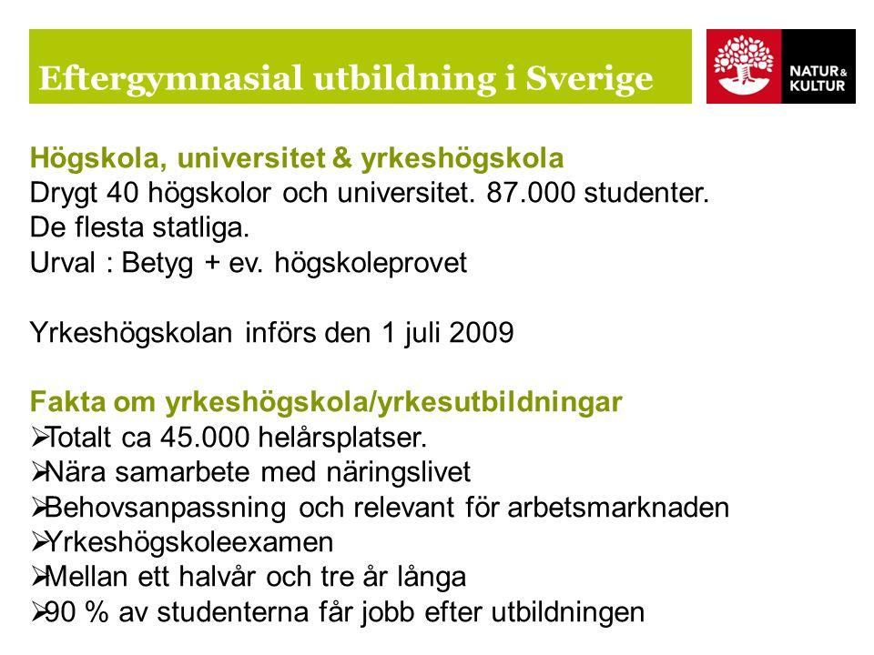 Eftergymnasial utbildning i Sverige Högskola, universitet & yrkeshögskola Drygt 40 högskolor och universitet.