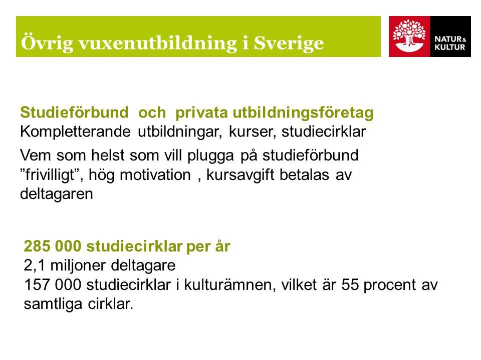 Övrig vuxenutbildning i Sverige Studieförbund och privata utbildningsföretag Kompletterande utbildningar, kurser, studiecirklar Vem som helst som vill plugga på studieförbund frivilligt , hög motivation, kursavgift betalas av deltagaren 285 000 studiecirklar per år 2,1 miljoner deltagare 157 000 studiecirklar i kulturämnen, vilket är 55 procent av samtliga cirklar.