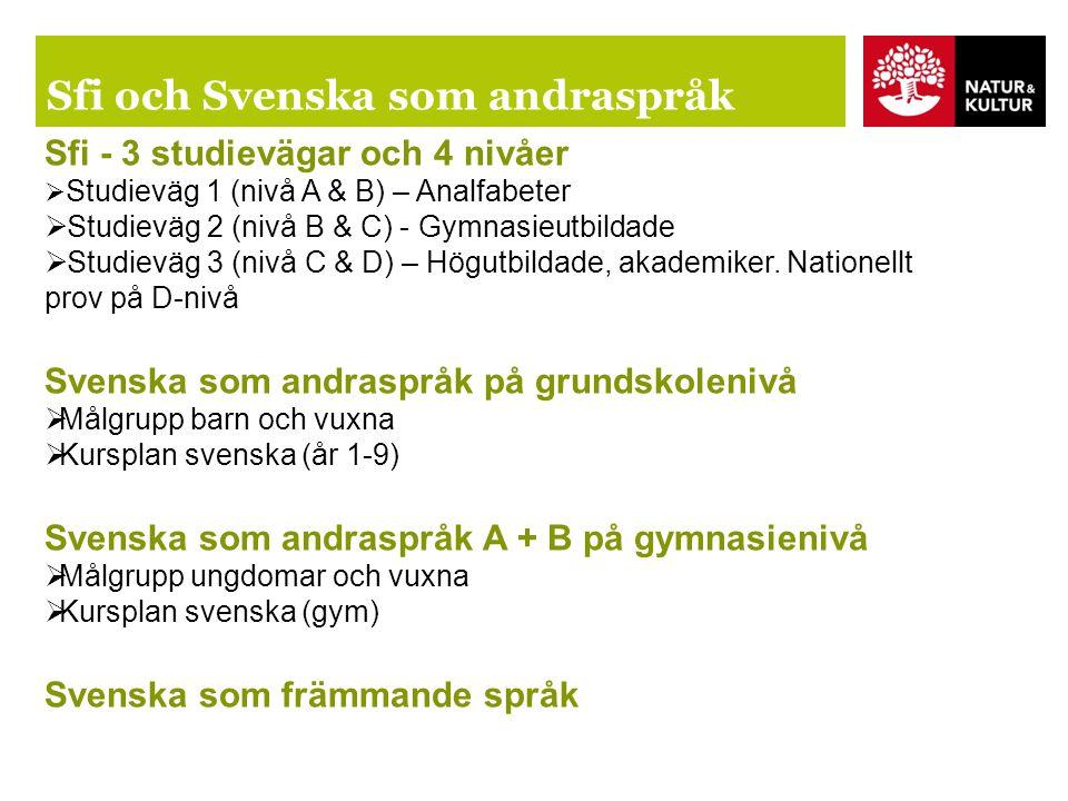 Sfi och Svenska som andraspråk Sfi - 3 studievägar och 4 nivåer  Studieväg 1 (nivå A & B) – Analfabeter  Studieväg 2 (nivå B & C) - Gymnasieutbildade  Studieväg 3 (nivå C & D) – Högutbildade, akademiker.