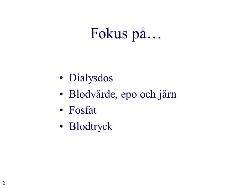 2 Fokus på… Dialysdos Blodvärde, epo och järn Fosfat Blodtryck