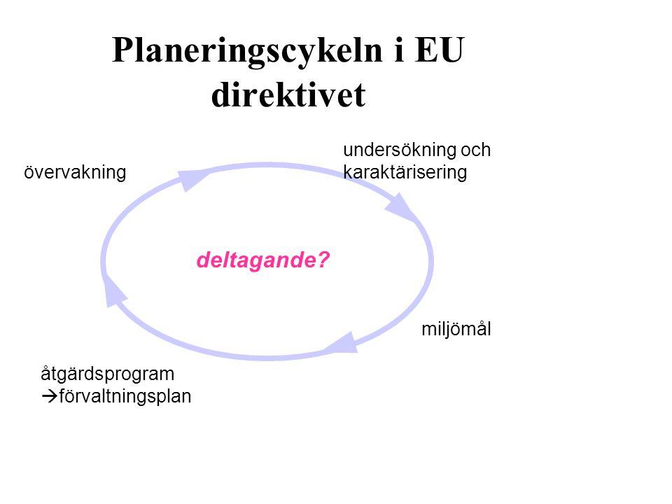 Svensk lagstiftning om deltagande i samband med direktivets genomförande: SFS 2004:660 Kap 5: Förvaltningsplaner & Kap 6: Åtgärdsprogram: förslag ska kungöras samråd ske beslut kungöras