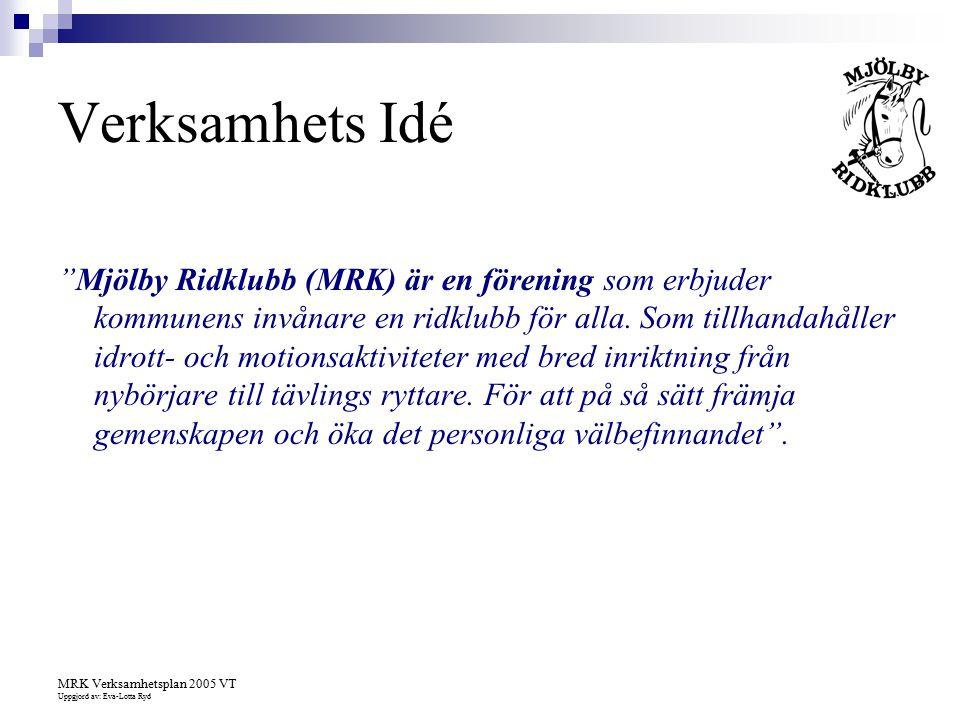 """MRK Verksamhetsplan 2005 VT Uppgjord av: Eva-Lotta Ryd Verksamhets Idé """"Mjölby Ridklubb (MRK) är en förening som erbjuder kommunens invånare en ridklu"""