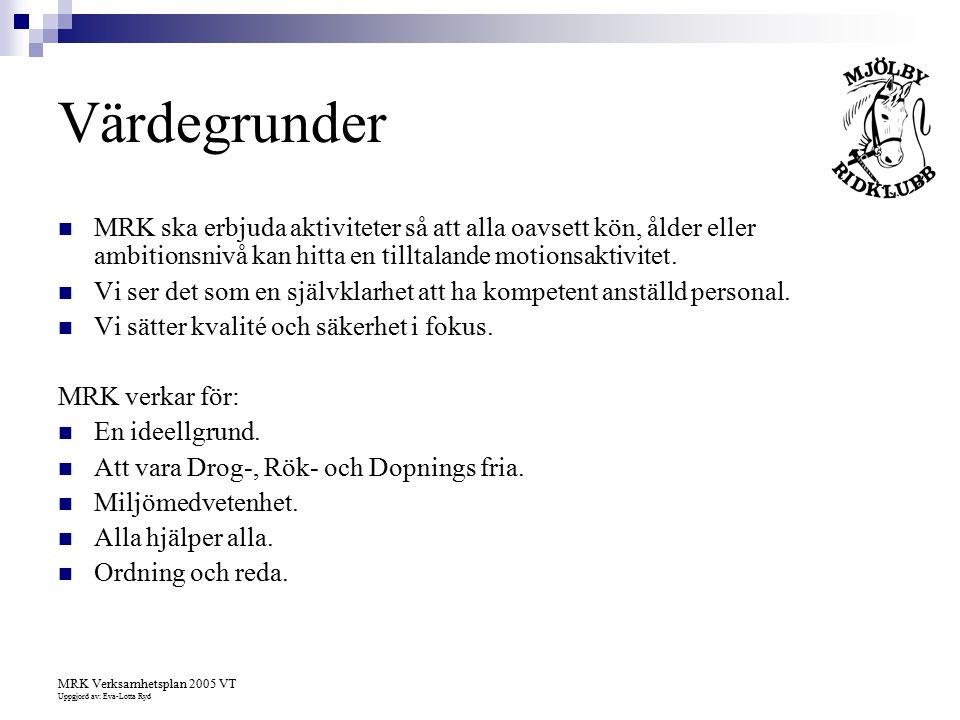 MRK Verksamhetsplan 2005 VT Uppgjord av: Eva-Lotta Ryd Värdegrunder MRK ska erbjuda aktiviteter så att alla oavsett kön, ålder eller ambitionsnivå kan