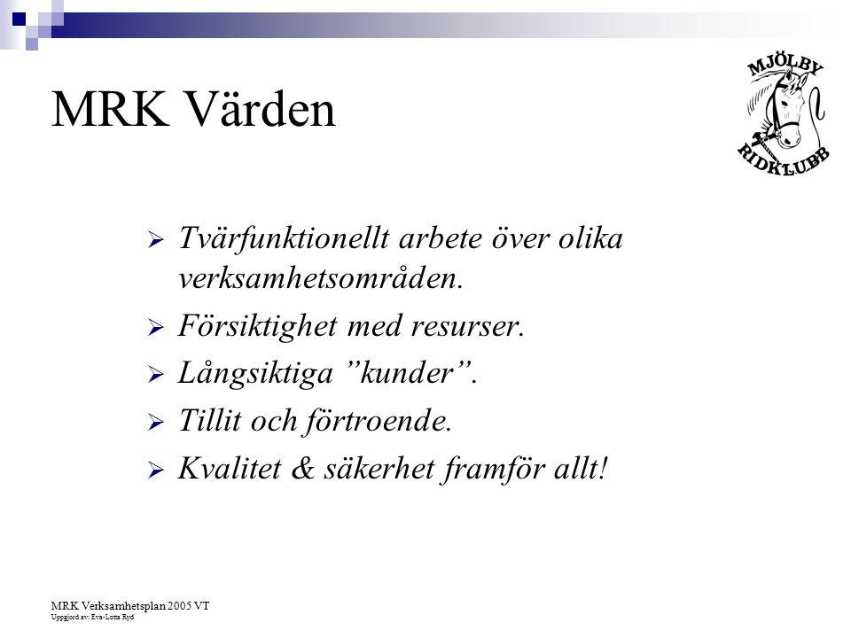 MRK Verksamhetsplan 2005 VT Uppgjord av: Eva-Lotta Ryd MRK Värden  Tvärfunktionellt arbete över olika verksamhetsområden.  Försiktighet med resurser