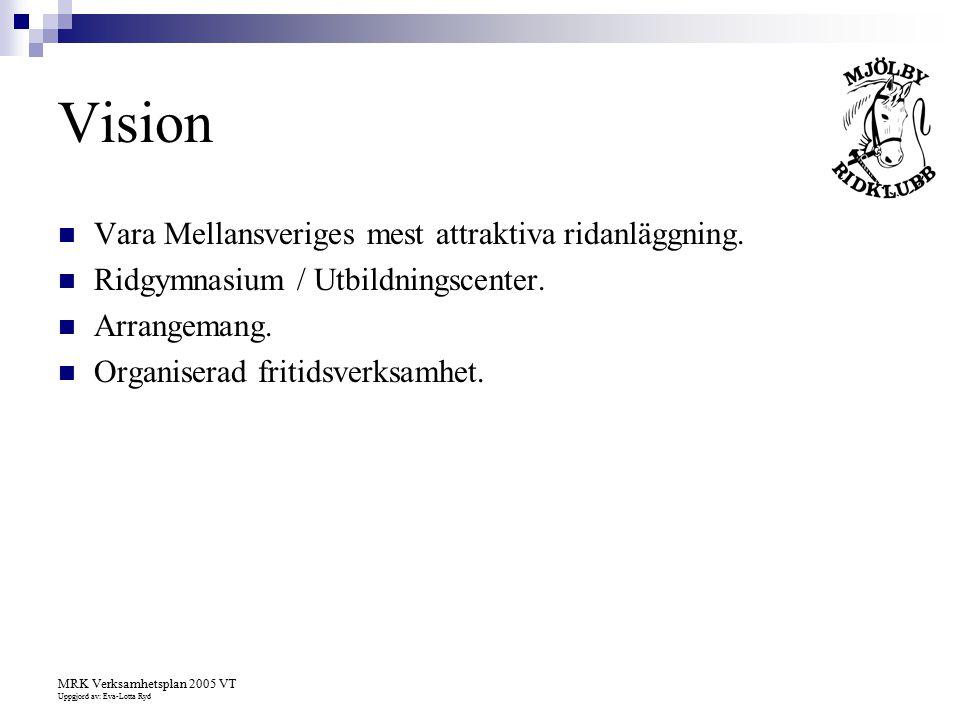 MRK Verksamhetsplan 2005 VT Uppgjord av: Eva-Lotta Ryd Vision Vara Mellansveriges mest attraktiva ridanläggning. Ridgymnasium / Utbildningscenter. Arr