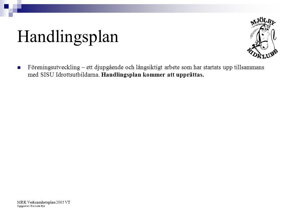 MRK Verksamhetsplan 2005 VT Uppgjord av: Eva-Lotta Ryd Handlingsplan Föreningsutveckling – ett djupgående och långsiktigt arbete som har startats upp