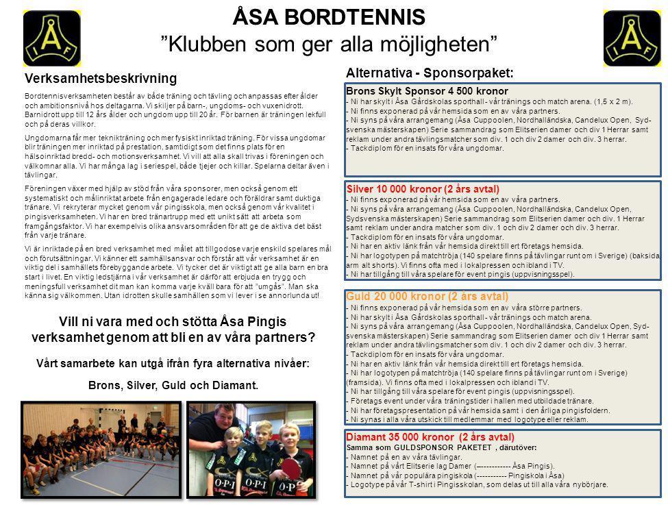 ÅSA BORDTENNIS Klubben som ger alla möjligheten Verksamhetsbeskrivning Bordtennisverksamheten består av både träning och tävling och anpassas efter ålder och ambitionsnivå hos deltagarna.