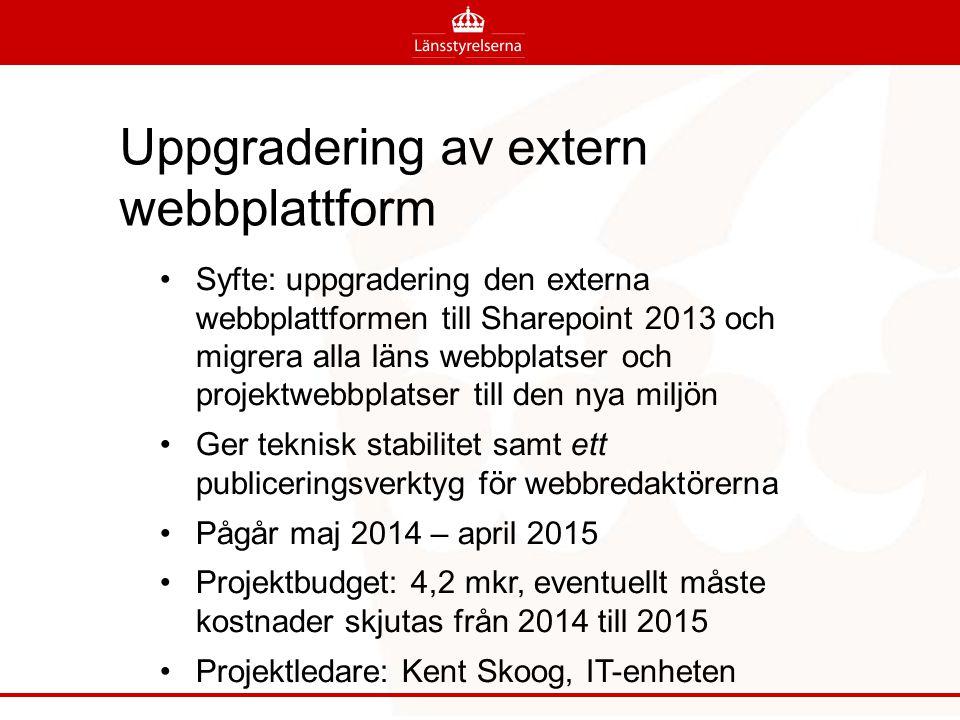 Uppgradering av extern webbplattform Syfte: uppgradering den externa webbplattformen till Sharepoint 2013 och migrera alla läns webbplatser och projektwebbplatser till den nya miljön Ger teknisk stabilitet samt ett publiceringsverktyg för webbredaktörerna Pågår maj 2014 – april 2015 Projektbudget: 4,2 mkr, eventuellt måste kostnader skjutas från 2014 till 2015 Projektledare: Kent Skoog, IT-enheten