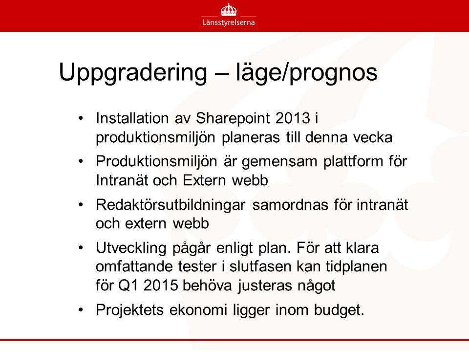 Uppgradering – läge/prognos Installation av Sharepoint 2013 i produktionsmiljön planeras till denna vecka Produktionsmiljön är gemensam plattform för Intranät och Extern webb Redaktörsutbildningar samordnas för intranät och extern webb Utveckling pågår enligt plan.