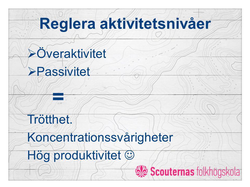 Reglera aktivitetsnivåer  Överaktivitet  Passivitet = Trötthet. Koncentrationssvårigheter Hög produktivitet