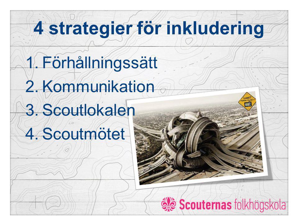 4 strategier för inkludering 1.Förhållningssätt 2.Kommunikation 3.Scoutlokalen 4.Scoutmötet