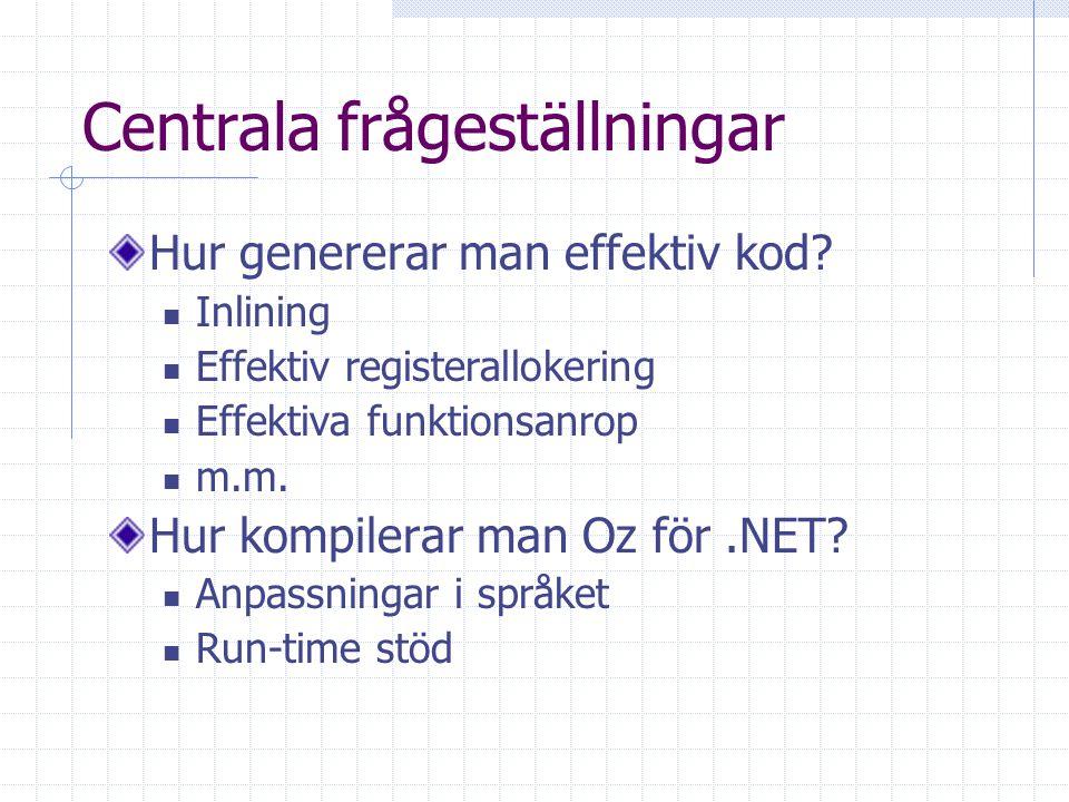Centrala frågeställningar Hur genererar man effektiv kod? Inlining Effektiv registerallokering Effektiva funktionsanrop m.m. Hur kompilerar man Oz för