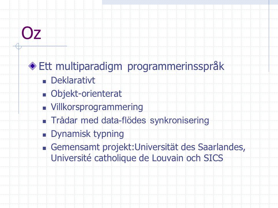 Oz Ett multiparadigm programmerinsspråk Deklarativt Objekt-orienterat Villkorsprogrammering Trådar med data-flödes synkronisering Dynamisk typning Gem