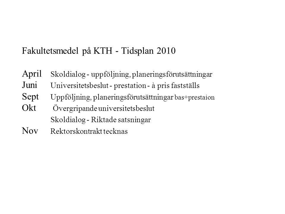 Fakultetsmedel på KTH - Tidsplan 2010 April Skoldialog - uppföljning, planeringsförutsättningar Juni Universitetsbeslut - prestation - à pris faststäl